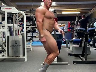 Muscle dad posing in gym: part two